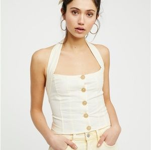 Free People Cream Is This Love Halter Top Size XL